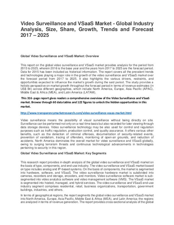 Video Surveillance and VSaaS  Market Size, Share, Trend and Forecast Video Surveillance and VSaaS Market - Global Indus
