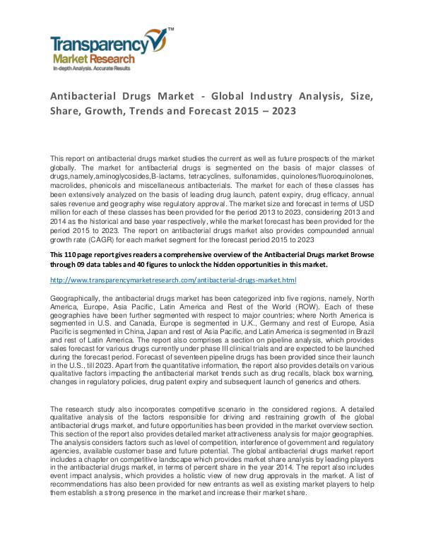 Antibacterial Drugs Market 2015 World Analysis and Forecast to 2023 Antibacterial Drugs Market - Global Industry Analy