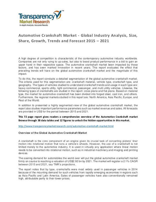Automotive Crankshaft Global Market Analysis 2015 and Forecast Automotive Crankshaft Market - Global Industry Ana