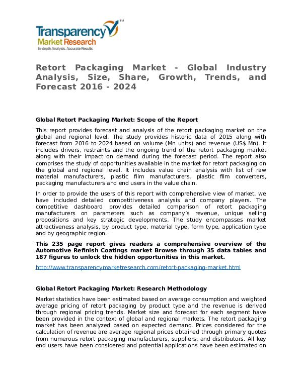 Retort Packaging Market Growth, Trend, Price and Forecast Retort Packaging Market - Global Industry Analysis