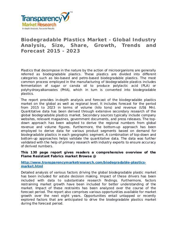 Biodegradable Plastics Market Growth, Trend, Price and Forecast Biodegradable Plastics Market - Global Industry An