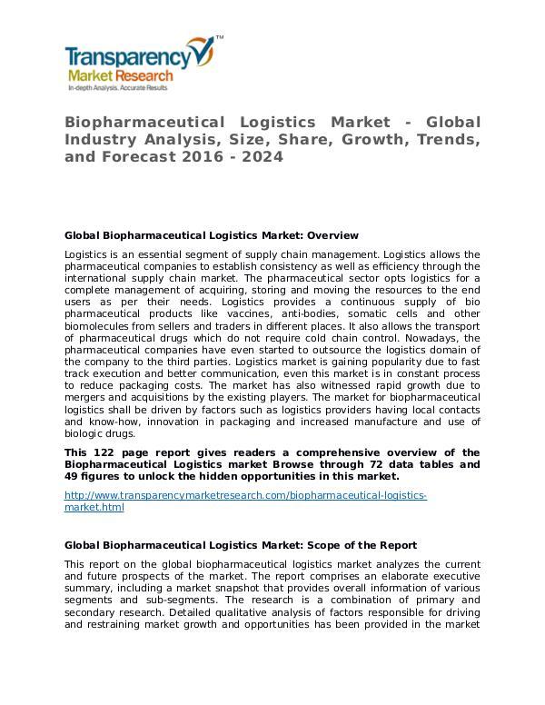 Biopharmaceutical Logistics Market Size, Share and Forecast Biopharmaceutical Logistics Market - Global Indust