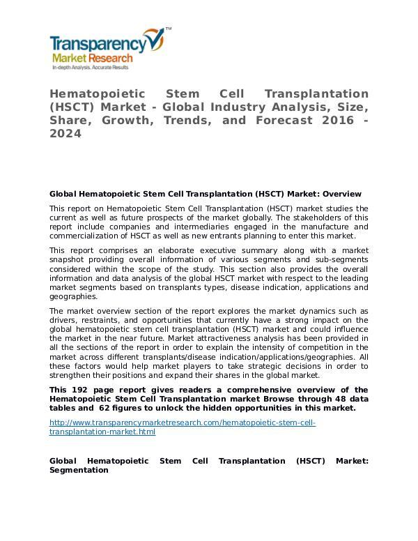 Hematopoietic Stem Cell Transplantation Market 2016 Hematopoietic Stem Cell Transplantation (HSCT) Mar
