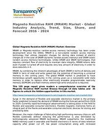 Magneto Resistive RAM Global Analysis & Forecast to 2024