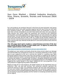 Sun Care Global Analysis & Forecast to 2024 Market Research Report