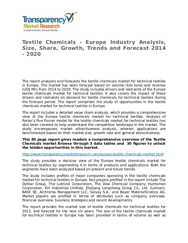 Textile Chemicals Global Analysis & Forecast to 2020 Textile Chemicals - Europe Industry Analysis, Size