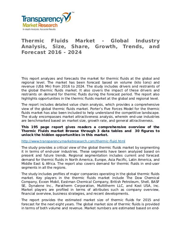 Thermic Fluids Global Analysis & Forecast to 2024 Market Research Thermic Fluids Market - Global Industry Analysis,
