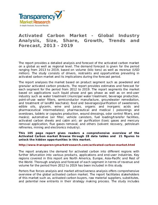 Activated Carbon Market – Analysis and Forecasts from 2013 to 2029 Activated Carbon Market - Global Industry Analysis