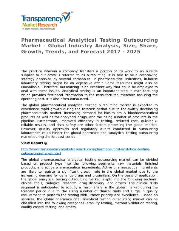 Pharmaceutical Analytical Testing Outsourcing 2017 Market Pharmaceutical Analytical Testing Outsourcing Mark