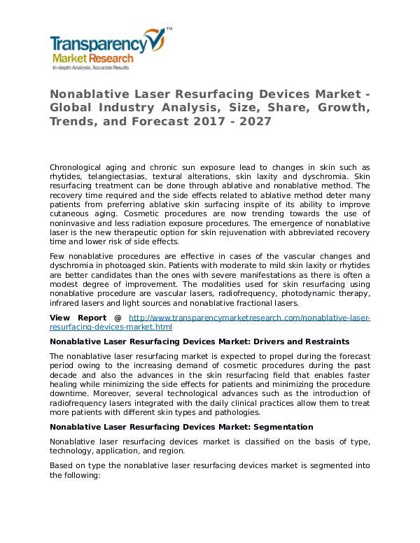 Nonablative Laser Resurfacing Devices Market Research Report Nonablative Laser Resurfacing Devices Market - Glo