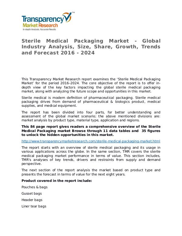 Sterile Medical Packaging Market Research Report Sterile Medical Packaging Market - Global Industry