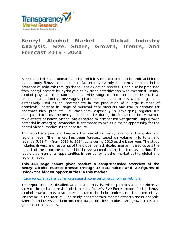 Benzyl Alcohol Market Research Report and Forecast up to 2024 Benzyl Alcohol Market - Global Industry Analysis,