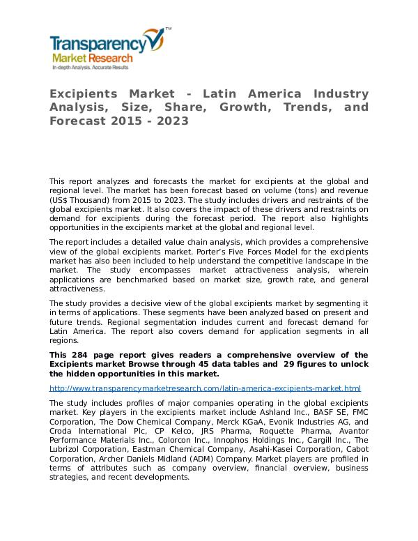 Excipients Market Research Report and Forecast up to 2023 Excipients Market - Latin America Industry Analysi