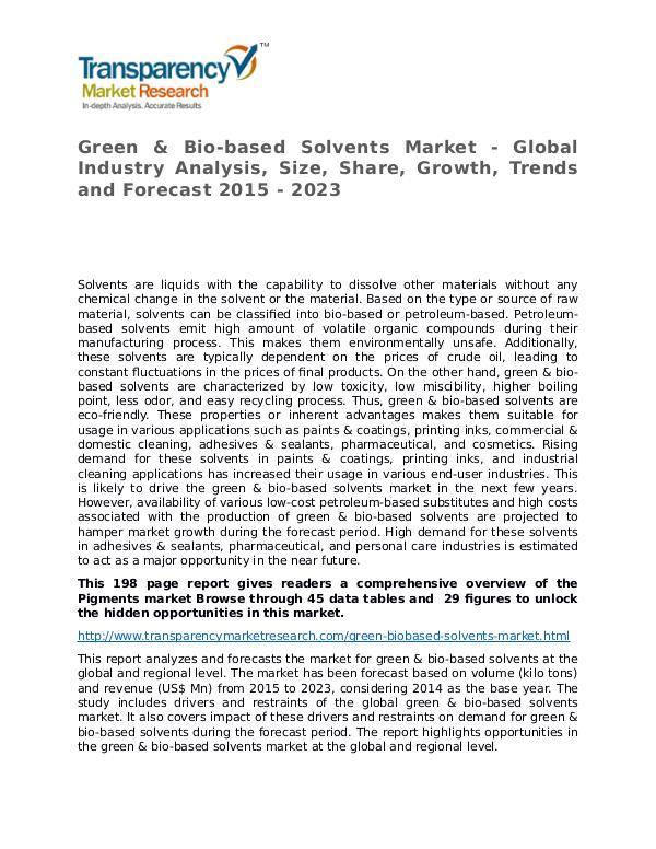 Green & Bio-based Solvents Market Research Report Green & Bio-based Solvents Market - Global Industr
