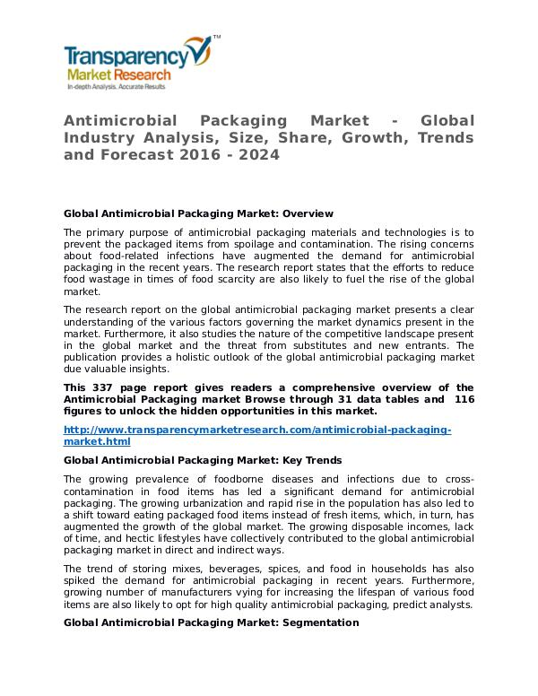 Antimicrobial Packaging Market Research Report and Forecast Antimicrobial Packaging Market - Global Industry A