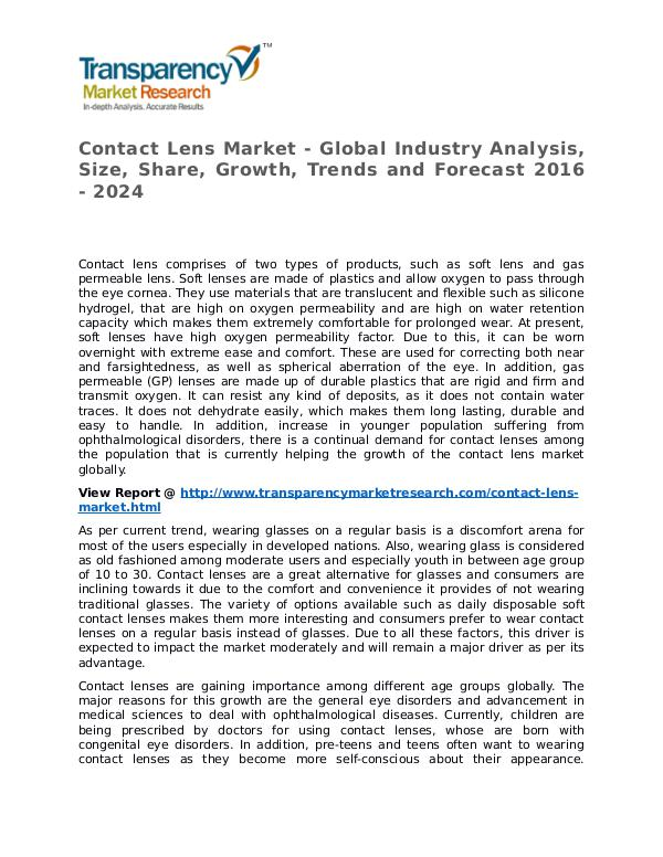 Contact Lens Market Research Report and Forecast up to 2024 Contact Lens Market - Global Industry Analysis, Si