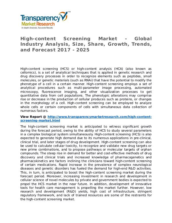 High-content Screening Market Research Report and Forecast up to 2027 High-content Screening Market - Global Industry An