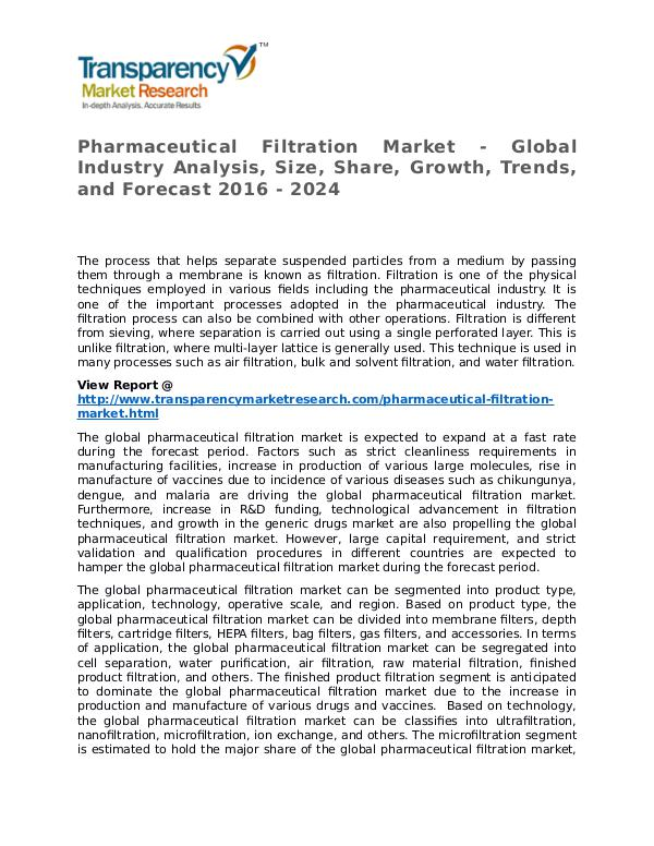Pharmaceutical Filtration Market Research Report and Forecast Pharmaceutical Filtration Market - Global Industry