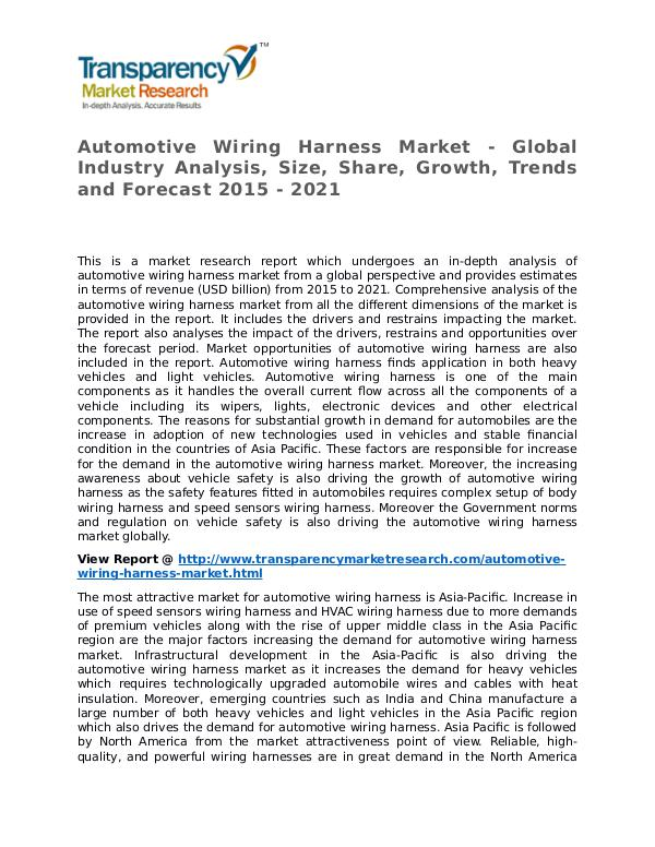 Automotive Wiring Harness Market Research Report and Forecast Automotive Wiring Harness Market - Global Industry