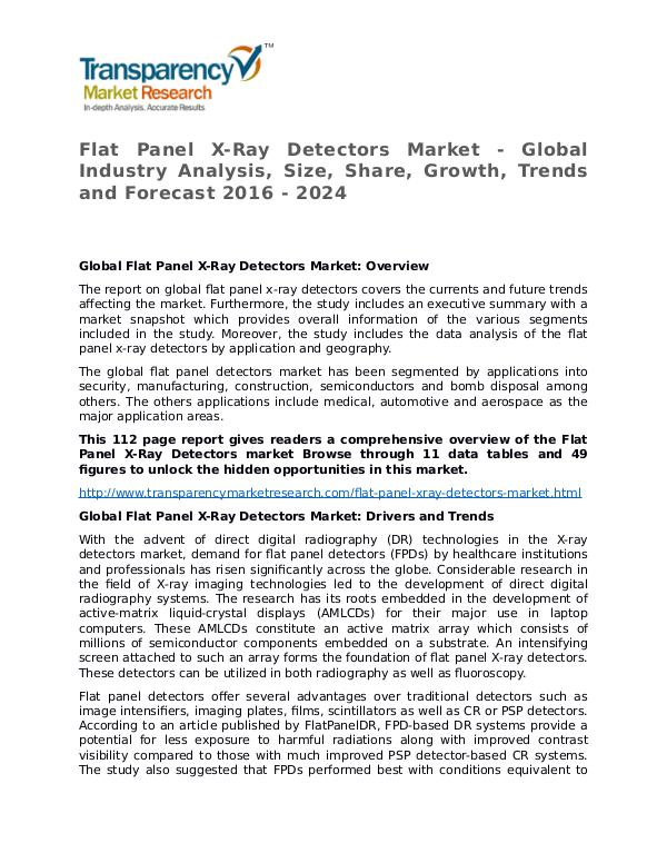 Flat Panel X-Ray Detectors Market Research Report and Forecast Flat Panel X-Ray Detectors Market - Global Industr