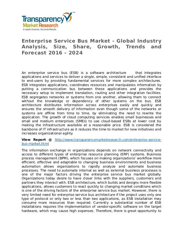 Enterprise Service Bus Market Research Report and Forecast up to 2024 Enterprise Service Bus Market - Global Industry An