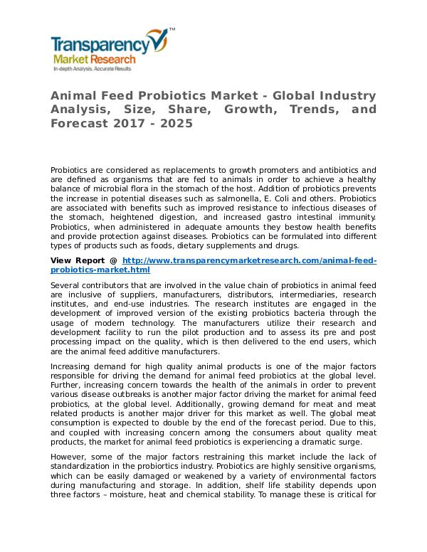Animal Feed Probiotics Market Research Report and Forecast up to 2025 Animal Feed Probiotics Market - Global Industry An