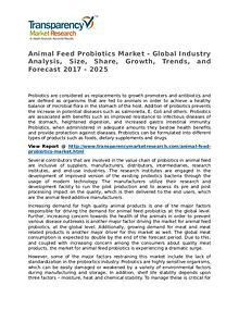 Animal Feed Probiotics Market Research Report and Forecast up to 2025