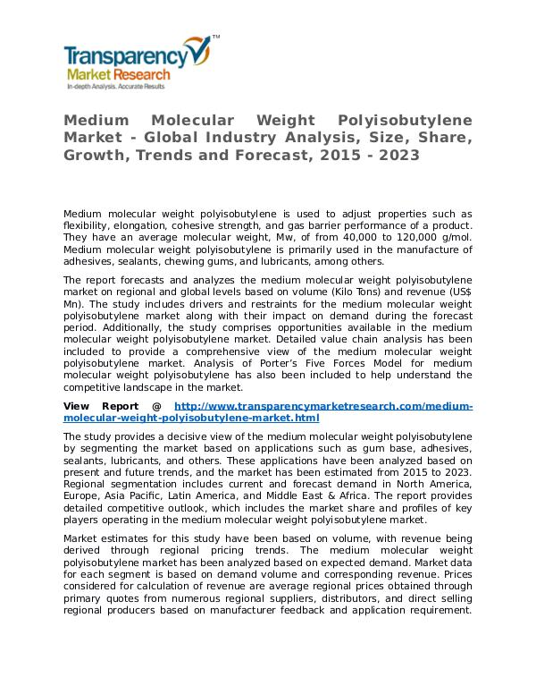 Medium Molecular Weight Polyisobutylene Market Research Report Medium Molecular Weight Polyisobutylene Market - G