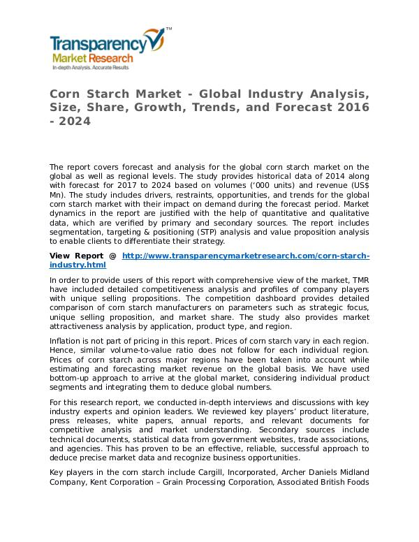 Corn Starch Market Research Report and Forecast up to 2024 Corn Starch Market - Global Industry Analysis, Siz