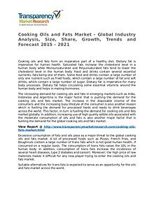 Cooking Oils and Fats Market Research Report and Forecast up to 2021