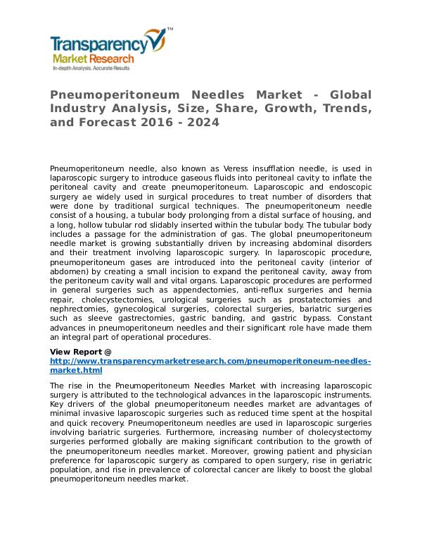 Pneumoperitoneum Needles Market Research Report and Forecast Pneumoperitoneum Needles Market - Global Industry
