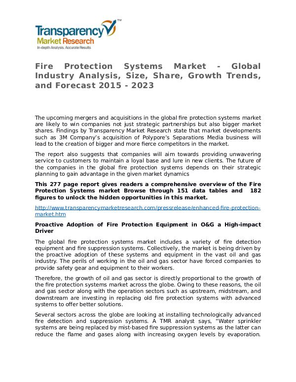Fire Protection Systems Market Research Report and Forecast Fire Protection Systems Market - Global Industry A