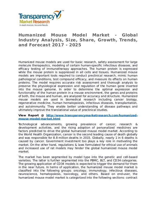 Humanized Mouse Model Market Research Report and Forecast up to 2025 Humanized Mouse Model Market - Global Industry Ana