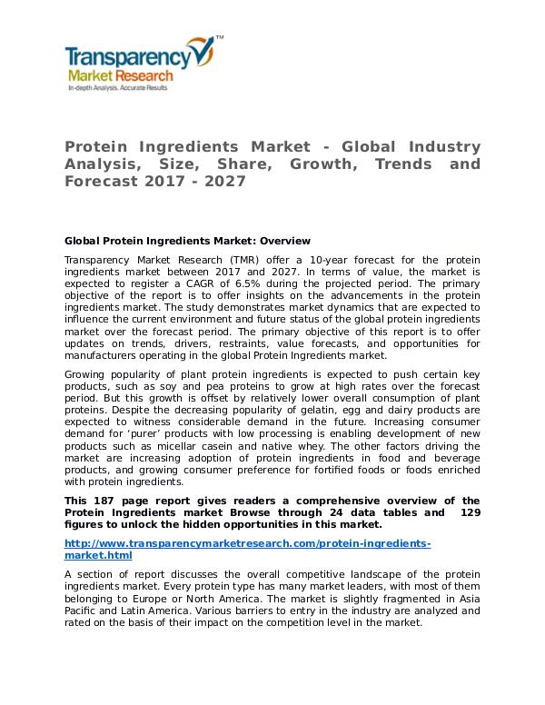 Protein Ingredients Market Research Report and Forecast up to 2027 Protein Ingredients Market - Global Industry Analy