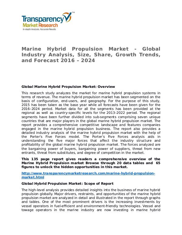 Marine Hybrid Propulsion Market Research Report and Forecast Marine Hybrid Propulsion Market - Global Industry