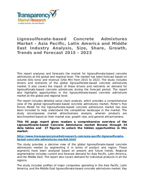 Lignosulfonate-based Concrete Admixtures Market Research Report Lignosulfonate-based Concrete Admixtures Market -