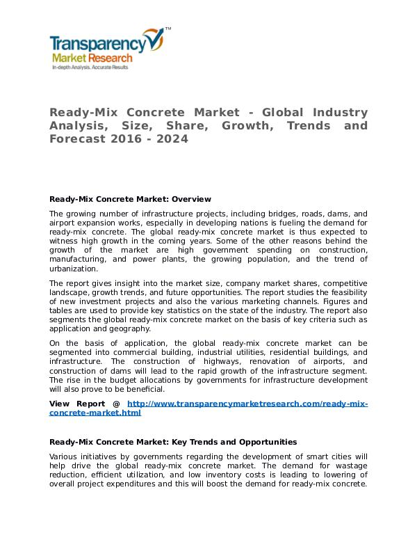 Ready-Mix Concrete Market Research Report and Forecast up to 2024 Ready-Mix Concrete Market - Global Industry Analys
