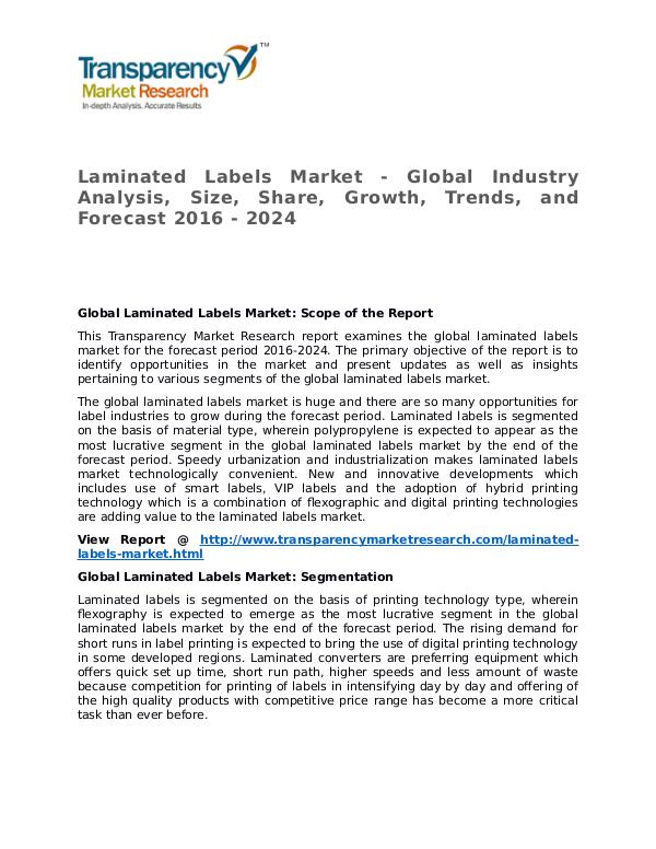 Laminated Labels Market Research Report and Forecast up to 2024 Laminated Labels Market - Global Industry Analysis