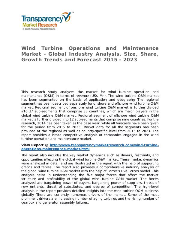 Wind Turbine Operations and Maintenance Market Research Report Wind Turbine Operations and Maintenance Market - G