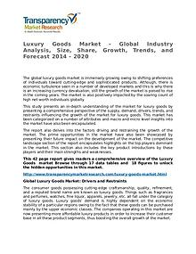 Luxury Goods Market Research Report and Forecast up to 2020