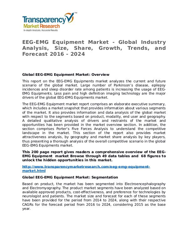 EEG-EMG Equipment Market Research Report and Forecast up to 2024 EEG-EMG Equipment Market - Global Industry Analysi