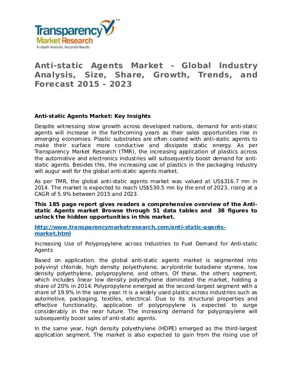 Anti-static Agents Market Research Report and Forecast up to 2023 Anti-static Agents Market - Global Industry Analys