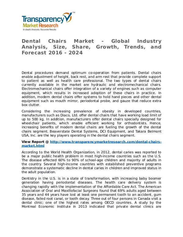 Dental Chairs Market Research Report and Forecast up to 2024 Dental Chairs Market - Global Industry Analysis, S