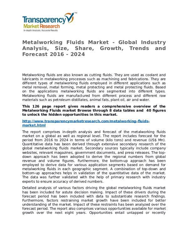 Metalworking Fluids Market Research Report and Forecast up to 2024 Metalworking Fluids Market - Global Industry Analy