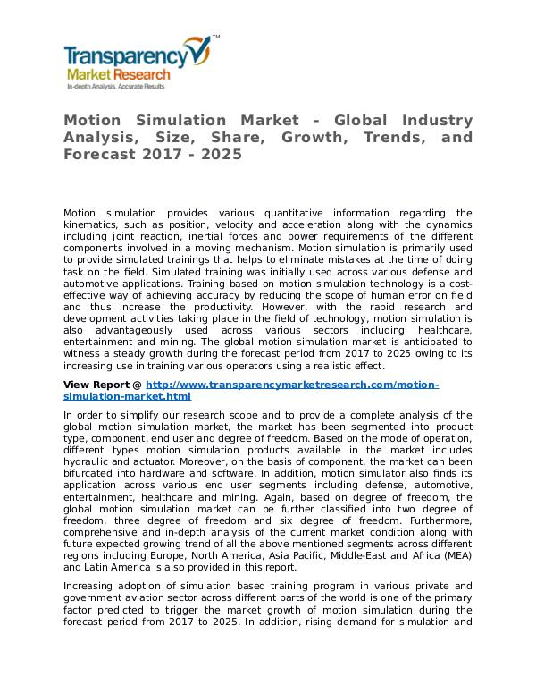 Motion Simulation Market Research Report and Forecast up to 2025 Motion Simulation Market - Global Industry Analysi