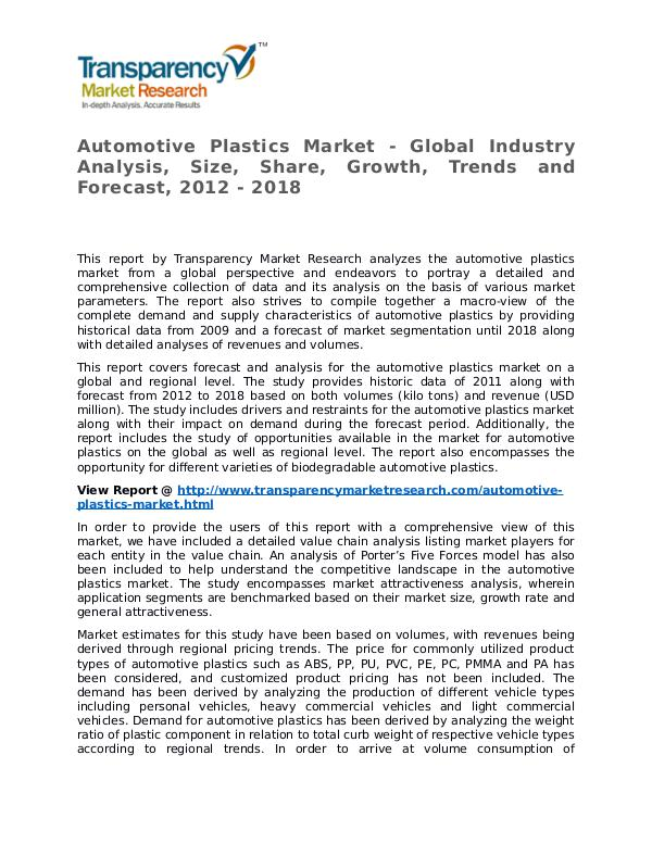 Automotive Plastics Market Research Report and Forecast up to 2018 Automotive Plastics Market - Global Industry Analy