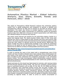 Automotive Plastics Market Research Report and Forecast up to 2018