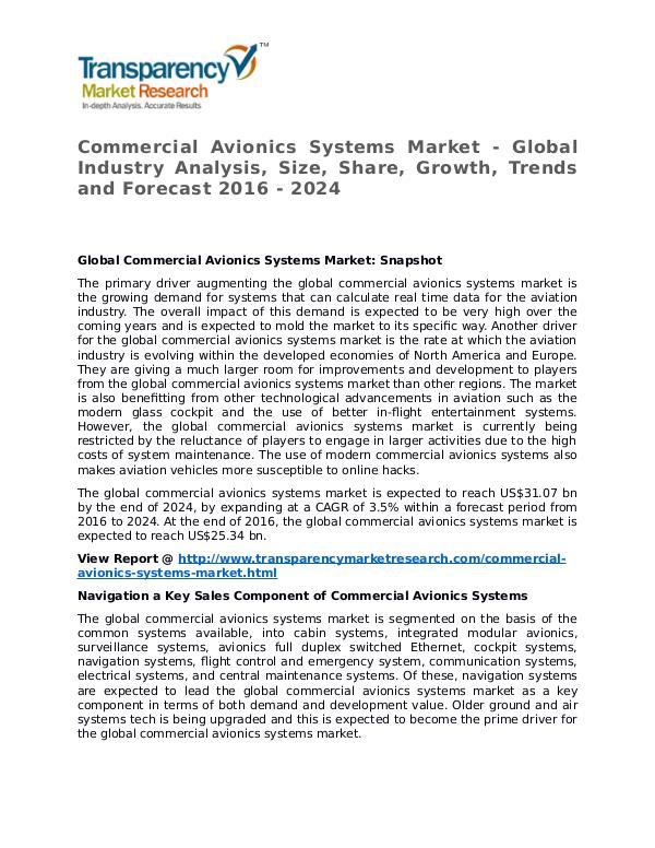 Commercial Avionics Systems Market Research Report and Forecast Commercial Avionics Systems Market - Global Indust