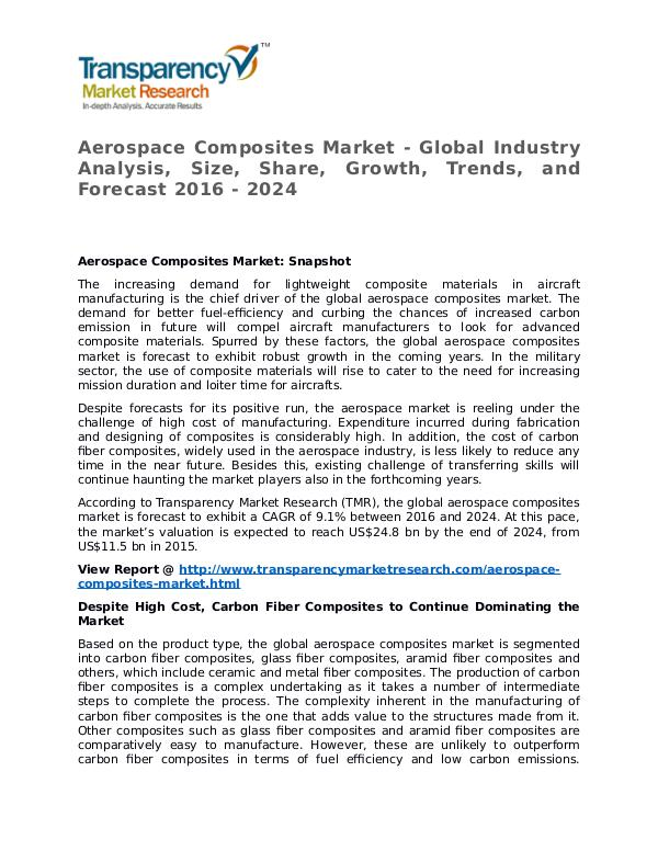 Aerospace Composites Market Research Report and Forecast up to 2024 Aerospace Composites Market - Global Industry Anal