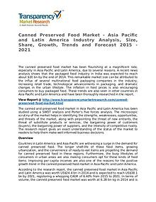 Canned Preserved Food Market Research Report and Forecast up to 2021